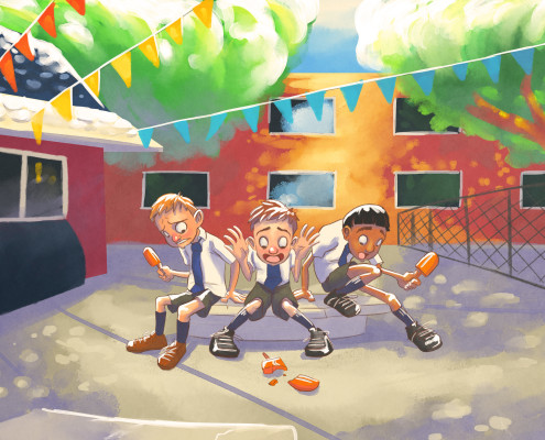 Watercolor Illustration of Indian Schoolboys on a playground