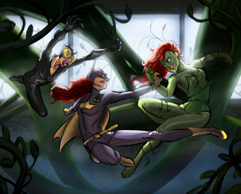 Batgirl fighting catwoman and poison Ivy