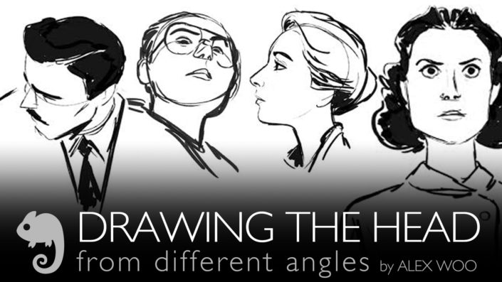 DRAWING HEAD FROM DIFFERENT ANGLES by ALEX WOO